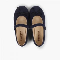Ballerine con chiusura a strappo e fiocco tipo scarpe con cinturino Blu