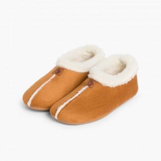 Pantofole Finto Camoscio Fodera tipo Agnello Cammello