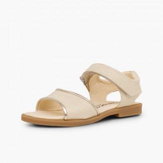 Sandali pelle brillante bambina chiusura a strappo Beige