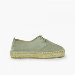 Scarpe Blucher bambina e donna piattaforma iuta Verde menta
