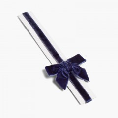 Cerchietto elastico di velluto con fiocco  Blu