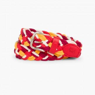 Cintura intrecciata Multicolor bambini Bordeaux/rosso