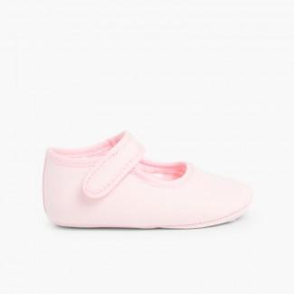 Scarpine neonato in tela con chiusura a strappo Rosa