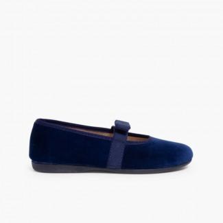 Ballerine velluto fiocco elastico Blu