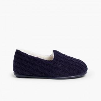 Pantofole casa bambini Lana  Blu