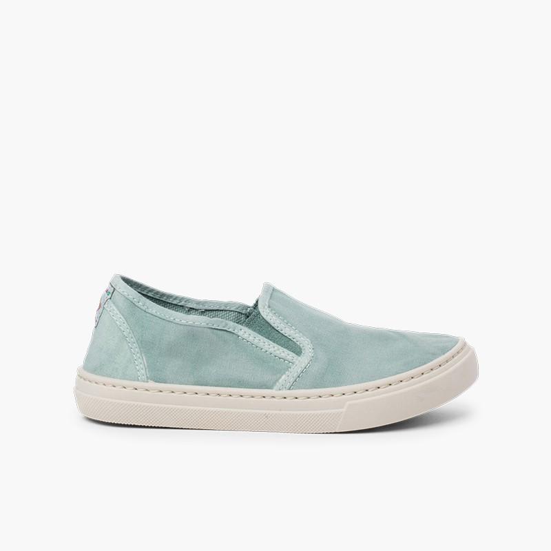 Sneakers tela slavata elastico laterale