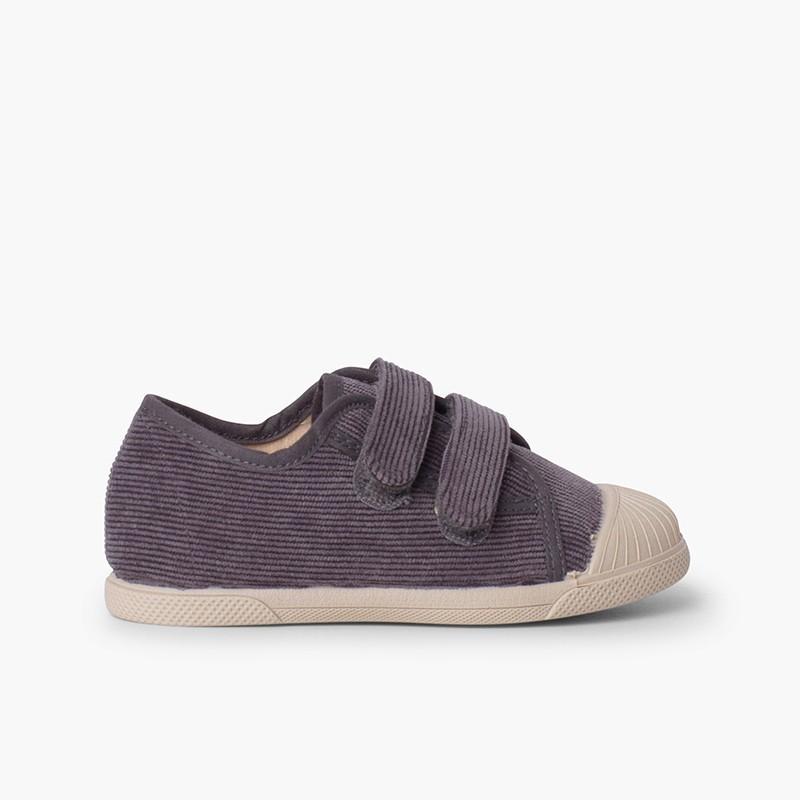 Sneakers in velluto a coste con puntale in gomma e doppia chiusura